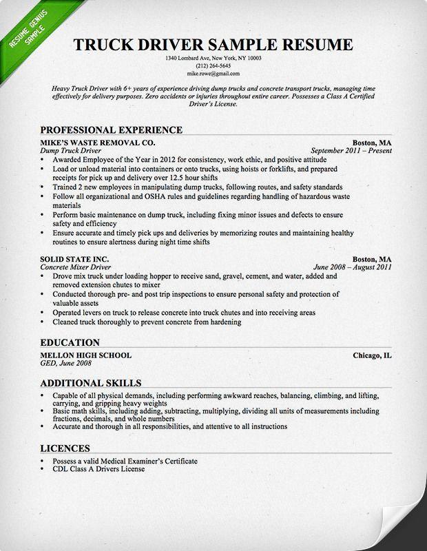 Truck Driver Resume Resume Examples Resume Online Resume