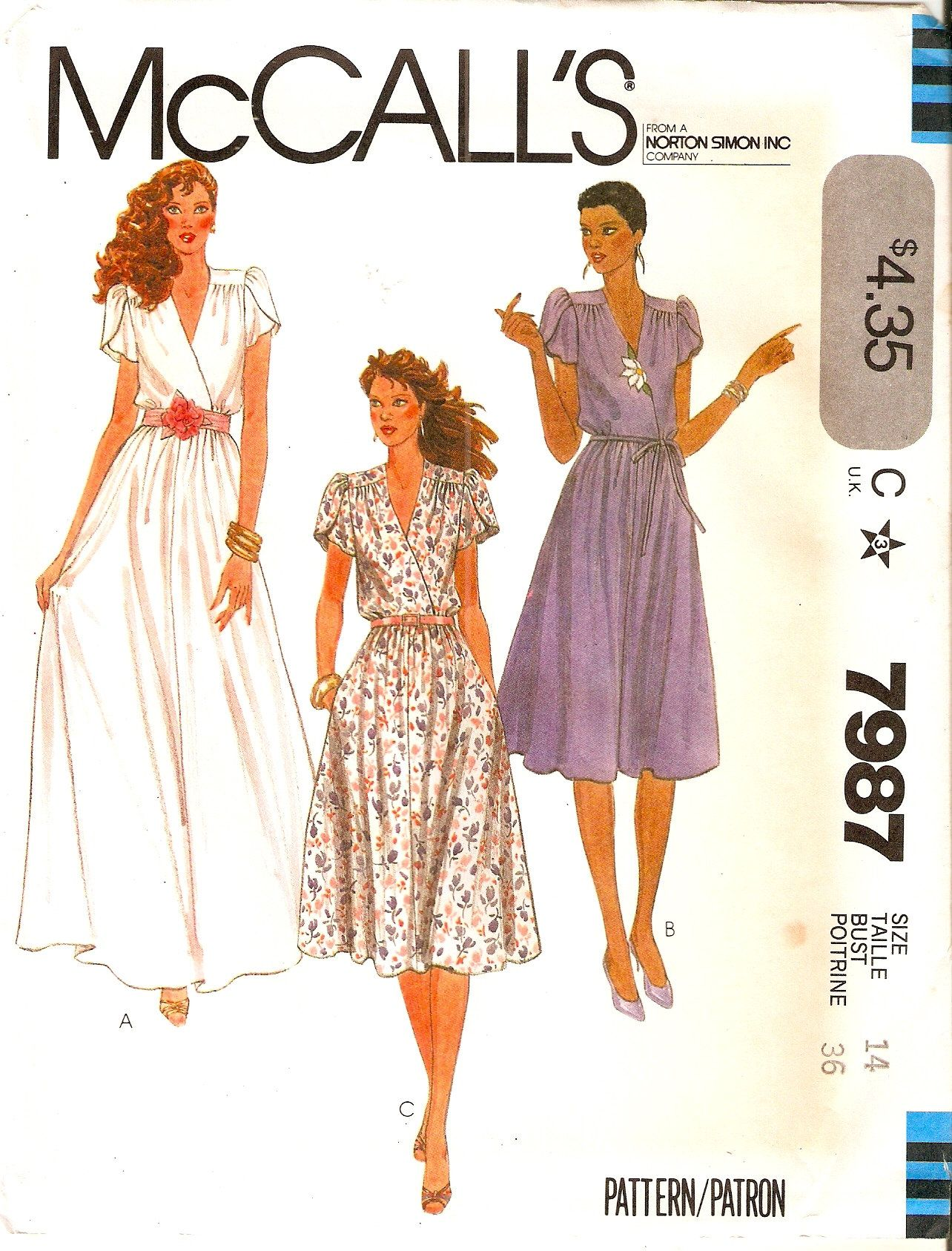 Vintage Mccalls Pattern 7987 Misses Womens Flowing Mock Wrap Long