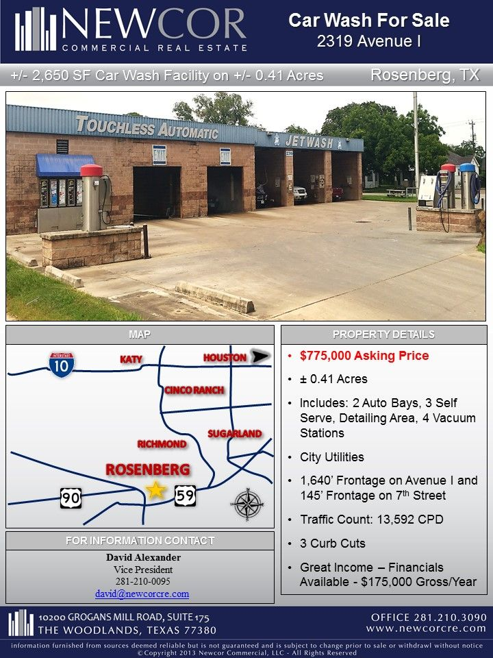 New Listing 2 650 Sf Car Wash Facility On 0 41 Acres Rosenberg Tx Contact David Alexander For More Information Car Wash Car Wash For Sale Acre