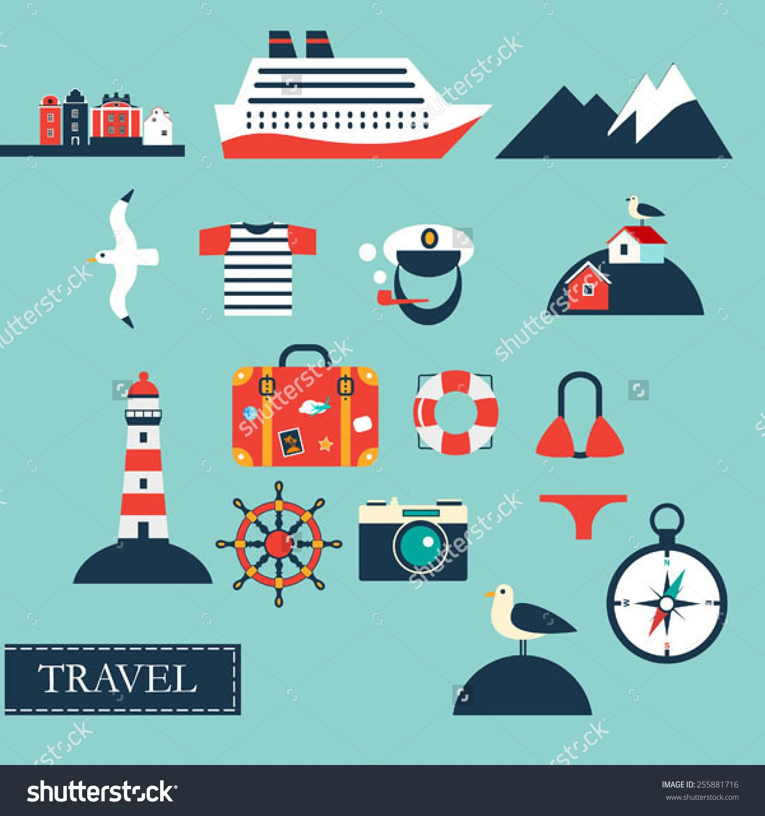 Tourism concept image sea vacation flat vector icons sea cruise