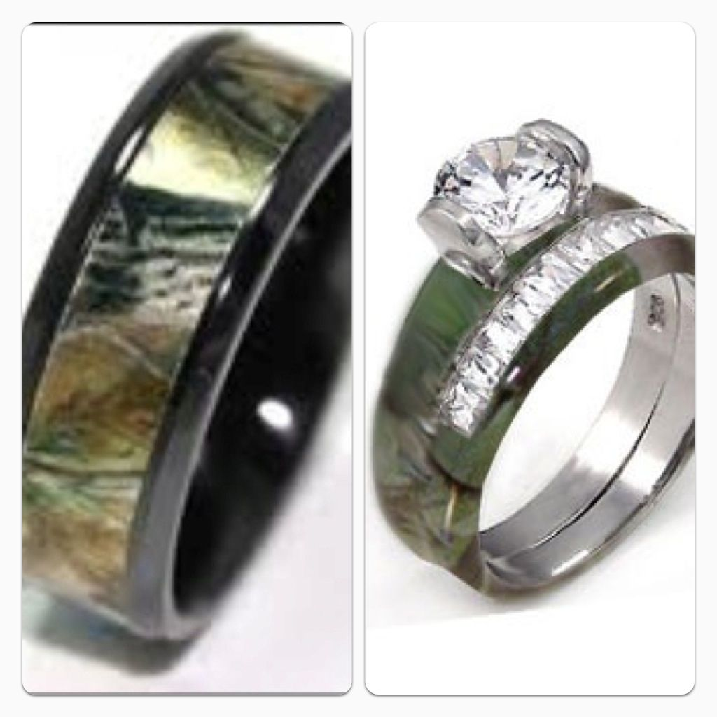 His and her camo wedding bands For a wedding ill never have