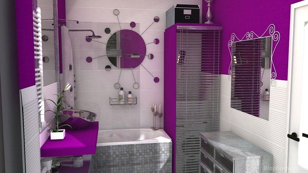 Pin de studio de color en morado pinterest cuarto de for Azulejos bano morado