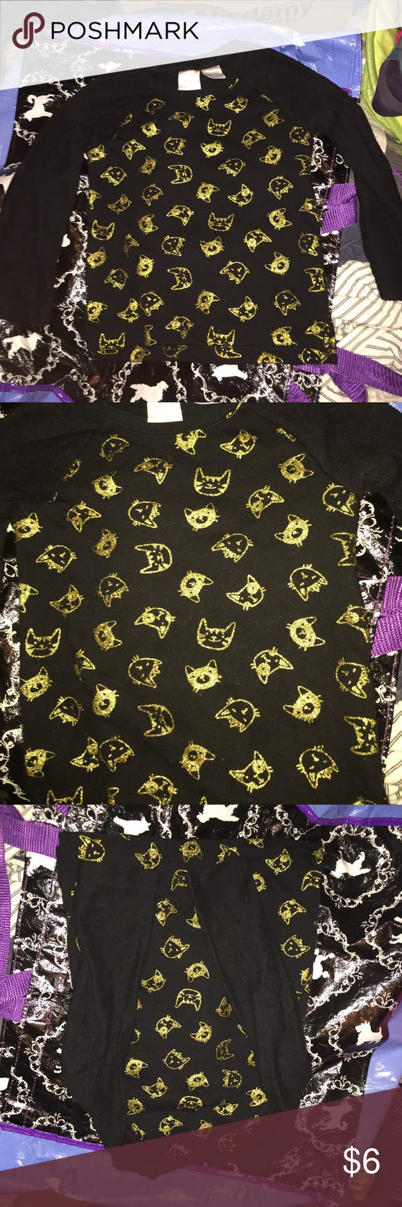 Brand-new without tags's kitty cat shirt Brand-new never been worn I took the tags off sweater material with gold glittery cats on it size 3 t Shirts & Tops Sweaters