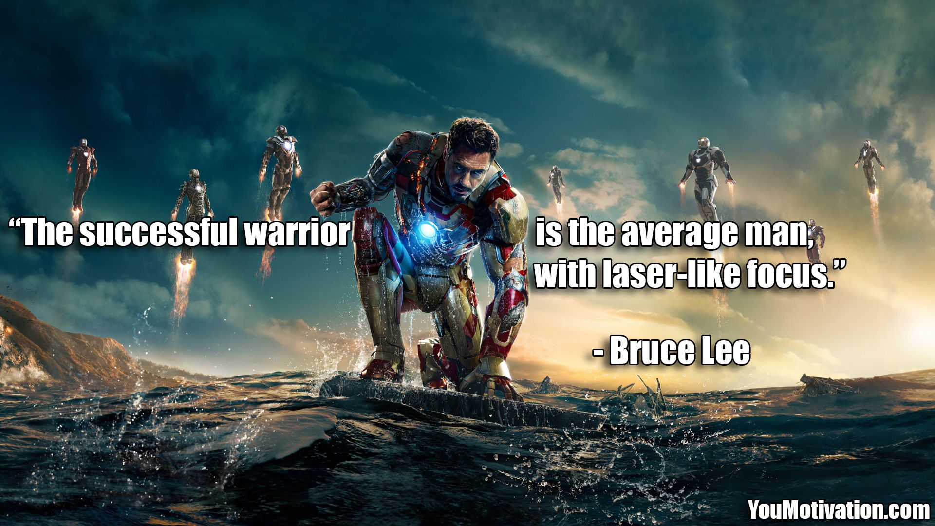 The Successful Warrior Is The Average Man With Laser Like Focus Bruce Lee Iron Man Wallpaper Iron Man Hd Wallpaper Man Wallpaper