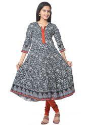 Off White and Black Cotton Readymade Anarkali Churidar Kameez