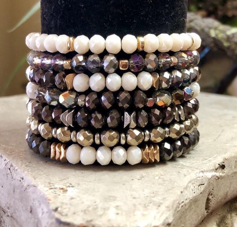 Gemstone Bracelets Gift for her Gemstone Jewelry Czech Beads Christmas Gifts Vintage Gemstone Bracelet Set Czech Bead Bracelets
