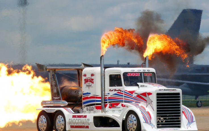 Drag Racing Semi Tractor Rig Fire Flames Jets Custom Wallpaper Background
