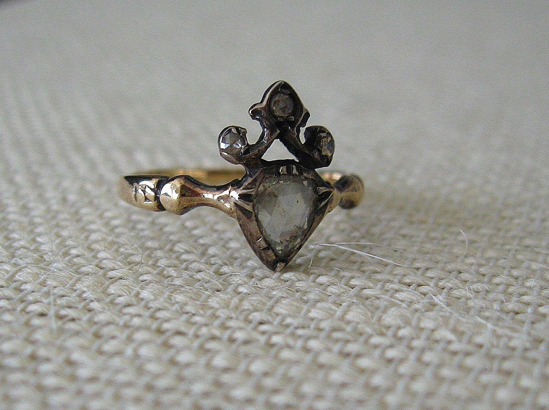 1700s Diamond Heart Engagement Ring. 1,750.00
