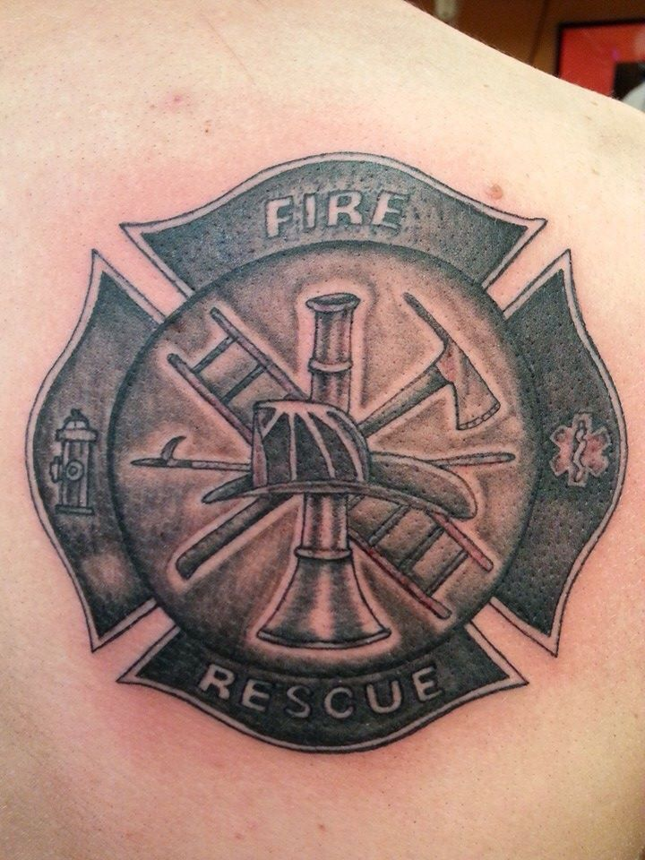 Firefighter Tattoo Black N Grey Tattoo Done By Shadow Fire