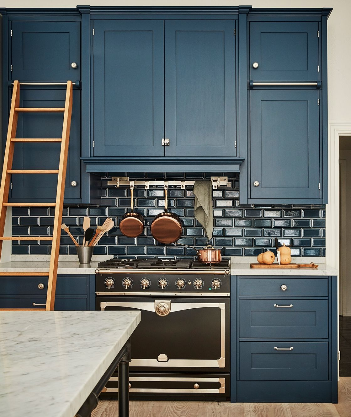 love the ladder idea for floor to ceiling cabinets in 2020 rustic kitchen blue kitchen on kitchen cabinets to the ceiling id=65300