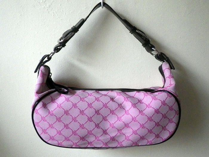 fe76a7276e LRL LAUREN Ralph Lauren pink and black monogram baguette bag  50 Original  Retail Price   70-76 CONDITION  barely used (twice)  original   authentic  Brand  ...