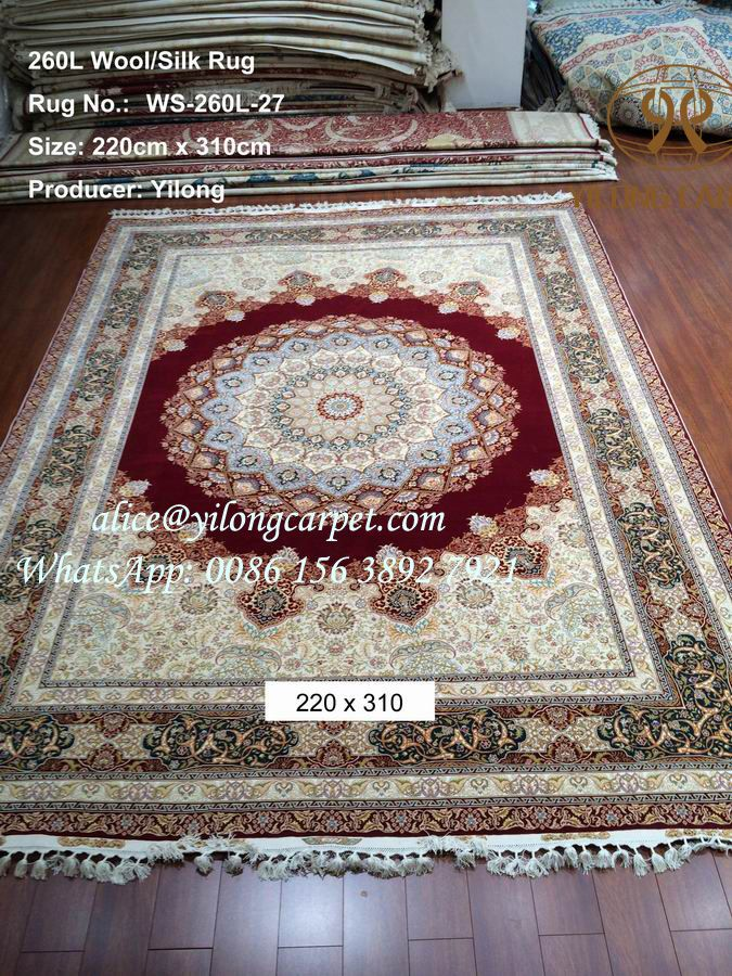 Hand knotted wool/silk rug from Yilong carpet with nice design and nice color. 260 lines, 470 kpsi, Size is 220 x 310 cm