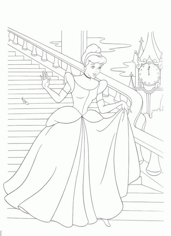 Princess Cinderella Rushed Home Coloring Pages Disney S Princess