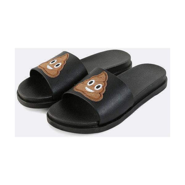 4fe99f1a2184 Smiley Poop Emoji Slide Sandals BLACK MULTI ( 14) ❤ liked on Polyvore  featuring shoes