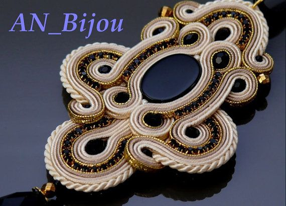 Hey, I found this really awesome Etsy listing at https://www.etsy.com/listing/226315818/ecru-gold-soutache-pendant-with-onyx