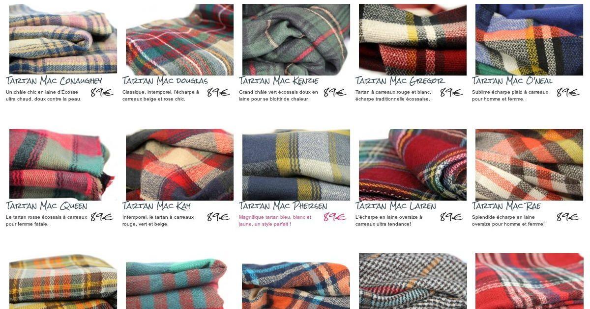 addf4363c26 Découvrez une gamme de grandes écharpe tartan à carreaux écossais pour  femme et homme