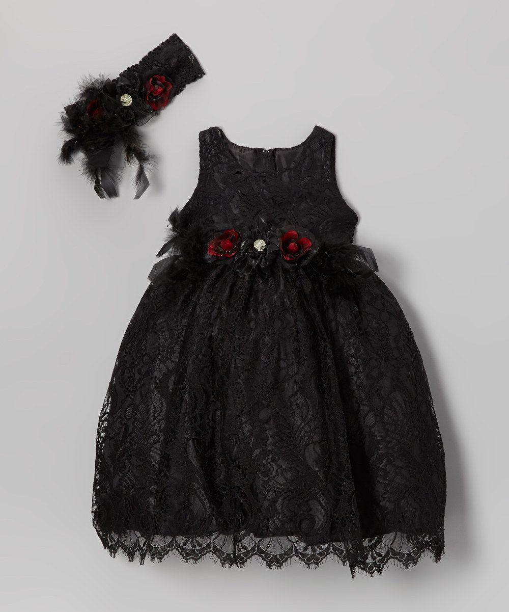 Black Lace Dress & Flower Headband - Toddler & Girls ...