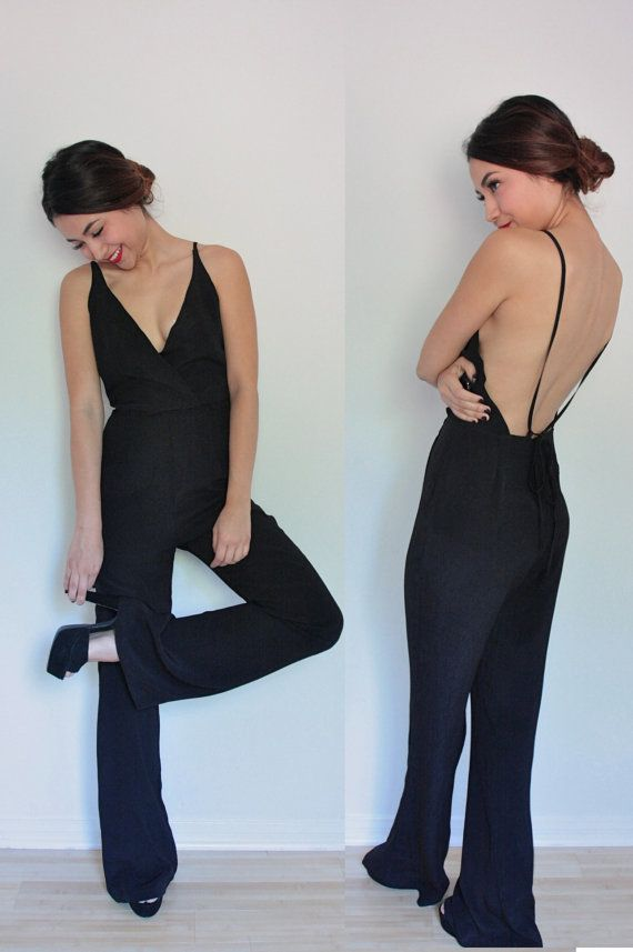 6668eaebc3d Amazing Black Polyester Silk Deep V Jumpsuit. Tuxedo Black Jumpsuit. Black  Jumpsuit. Disco Jumpsuit. All Sizes. New Years Eve Jumpsuit on Etsy