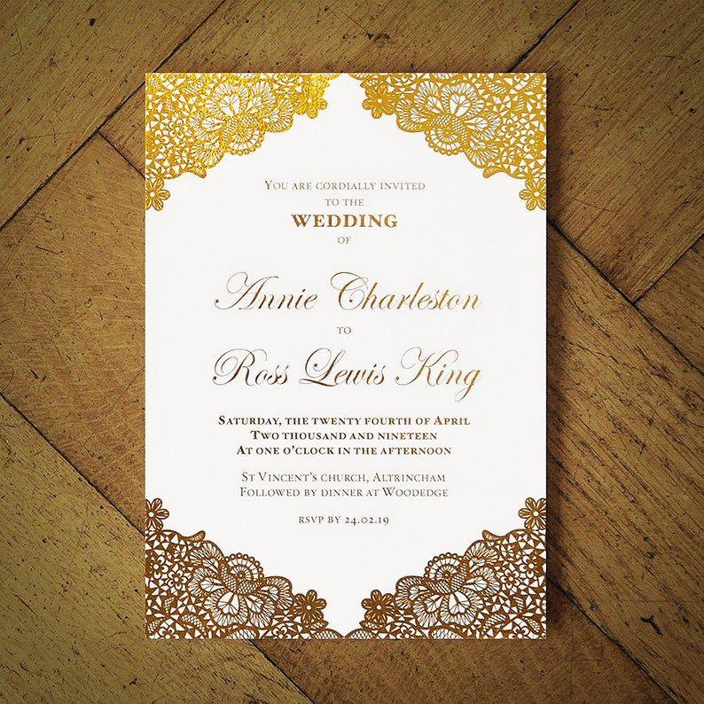 Versailles Foil Wedding Invitation on Luxury Card