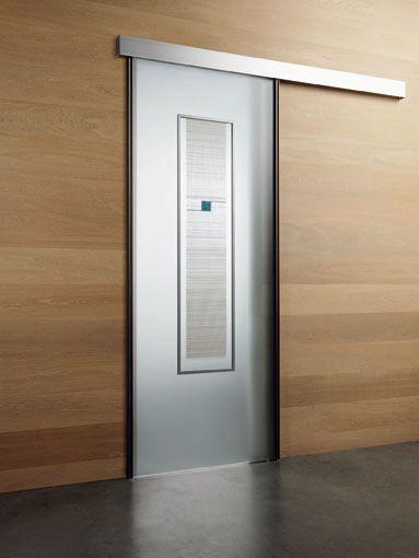Porta scorrevole esterno muro Classic, linea Tekna, vetro satinato ...