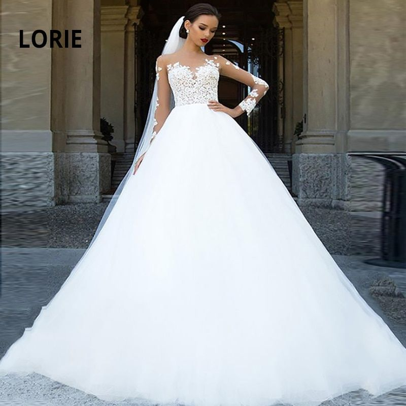 Lorie Elegant Lace Appliques Long Sleeve Wedding Dresses Ball Gown