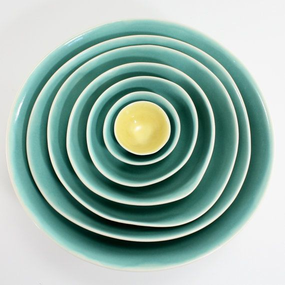 """Nesting bowls in """"sea and butter""""...love the color combo! #bowls #gifts #colors"""