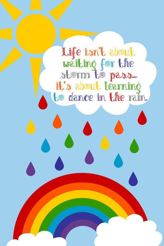 Raining Sky Beautiful Colours Rainbow Nursery Wall Decor Art Poster Print