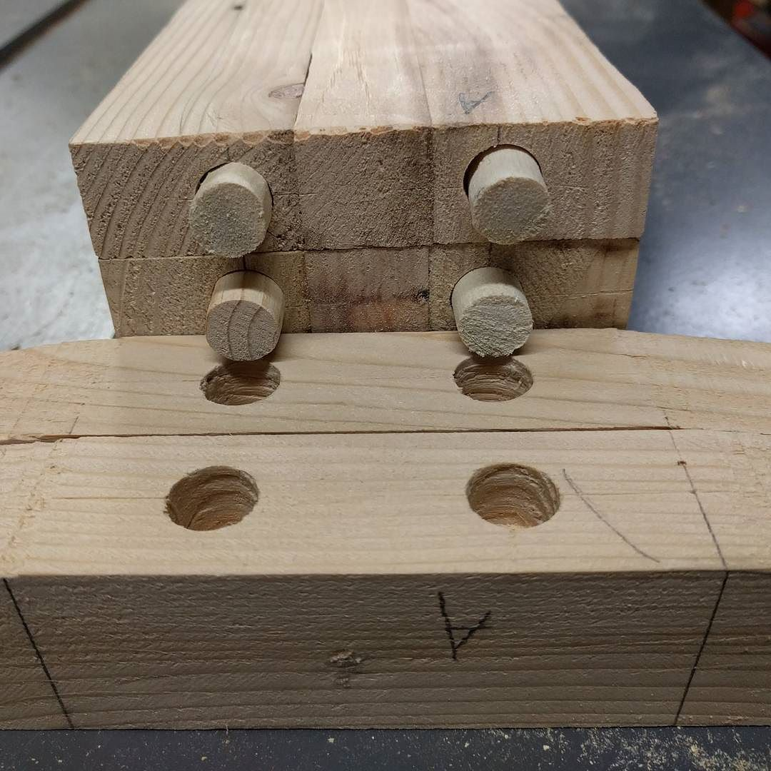 Dowel Joinery Looks A Whole Lot Like Legos Had To Get Creative With A Bandsaw To Turn 3 4 Stock Into 1 2 Pegs Dowels Joinery Fakelego Bamdsaw Roundpeg