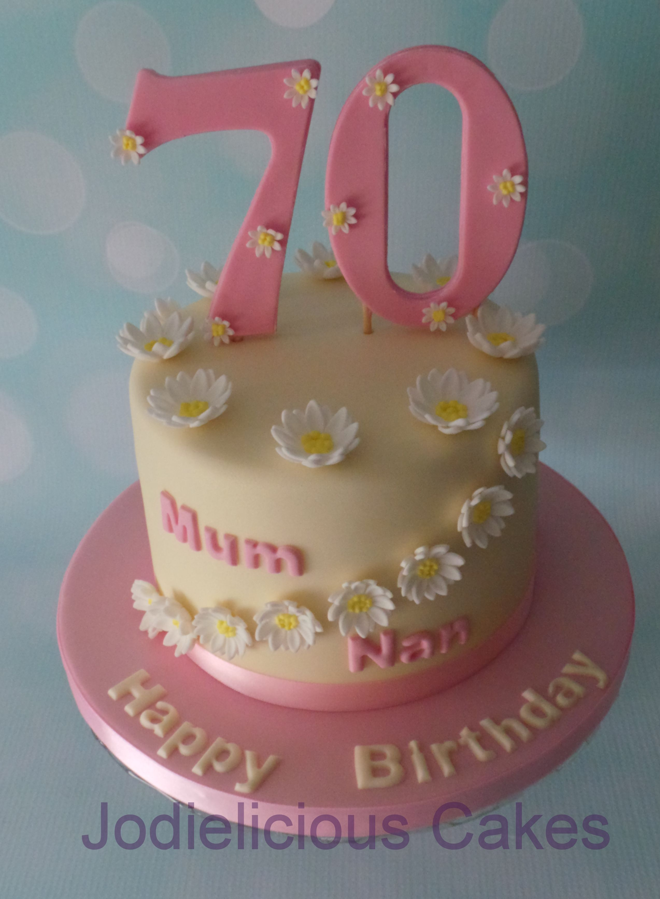Vanilla Th Birthday Cake For A Lady Whos Favorite Flowers Are - Birthday cakes 70th ladies