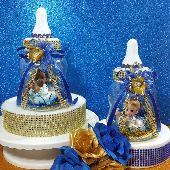 2 baby bottle for royal prince baby shower boys royal blue and gold prince