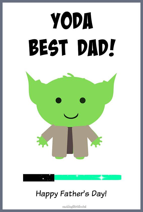 YODA BEST EVER Star Wars Printable Cards | Dads, Star and Crafty