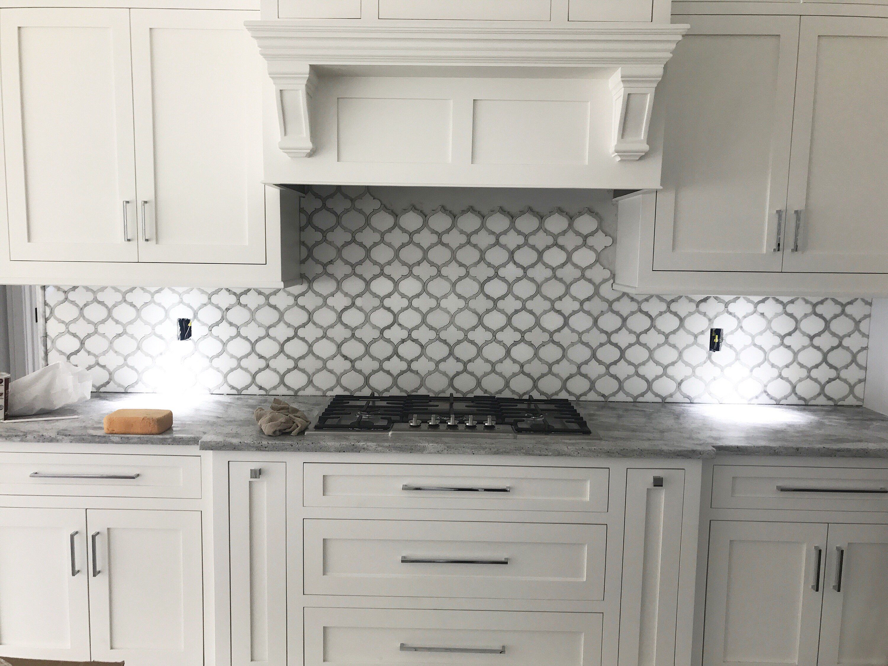 Kitchen Backsplash Ideas Arabesque White Thassos Carrara Carrera