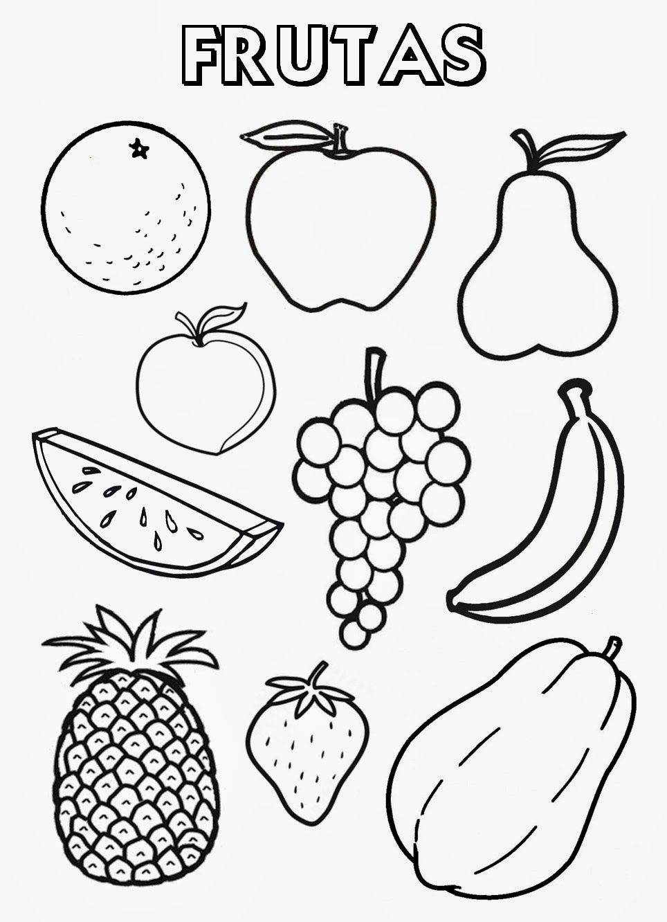 Frutas Yverduras Para Colorear Imagui Fruit Coloring Pages Fruits Drawing Coloring Pages