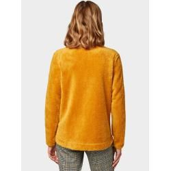 Photo of Tom Tailor Damen Sweatjacke mit Teddy-Fell, yellow, unifarben, Gr.S Tom TailorTom Tailor