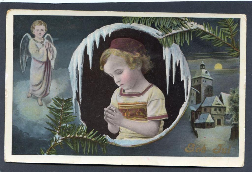 Annons på Tradera: Flicka med istappar ängel och kyrka Vackert Julkort fr 1911