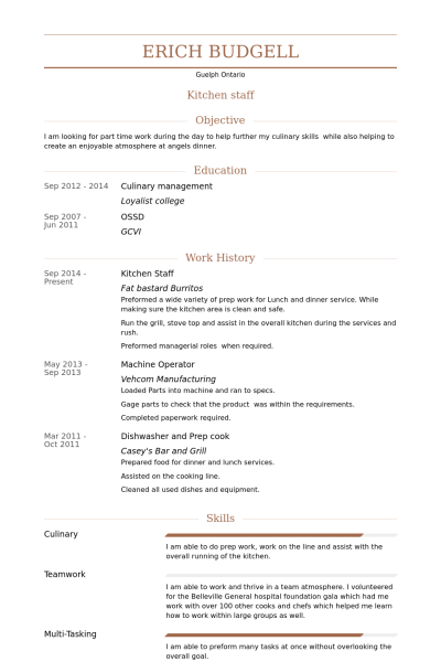 Resume Example Kitchen Staff Good Resume Examples Resume