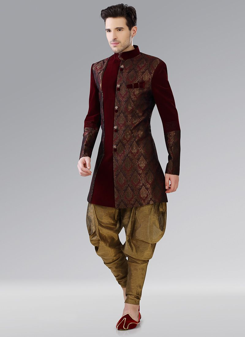 Maroon Indowestern Patiala Style Sherwani | mens wedding dress ...