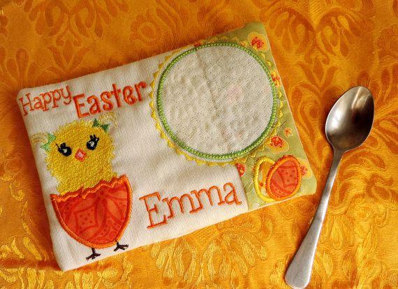 In the Hoop Mug Rug Easter Mug rug embroidery design
