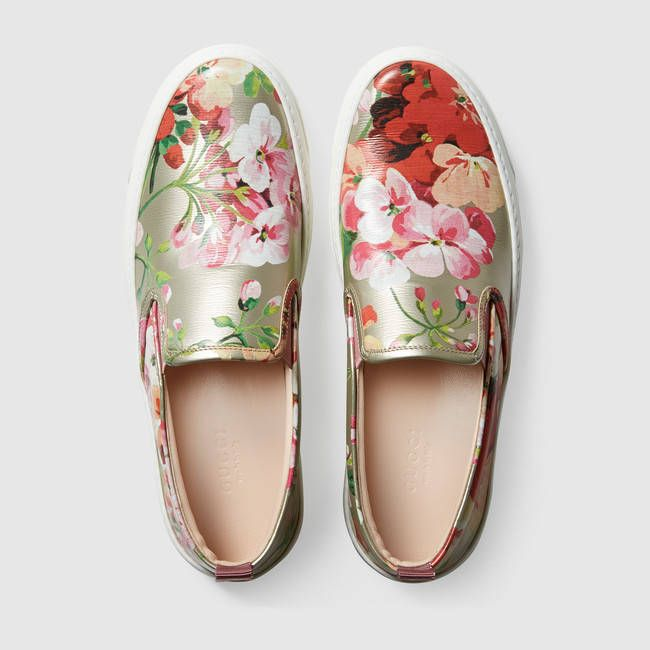 8d7521e7a2a452 Gucci | Blooms metallic leather sneaker | <3 | Style | Shoes, Gucci ...