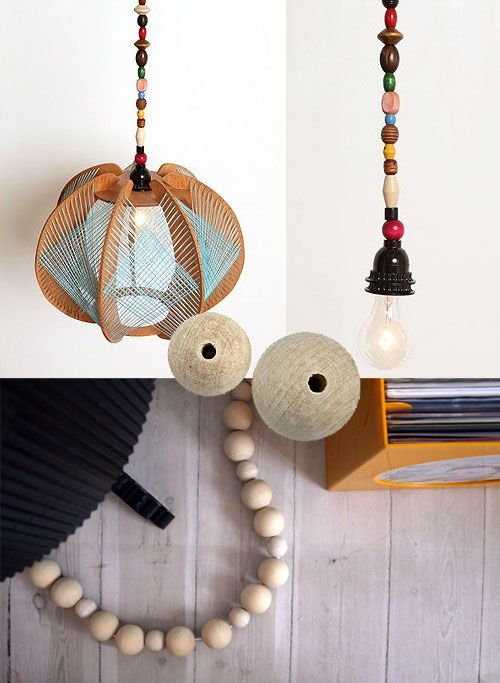 Decorative cable using wooden beads