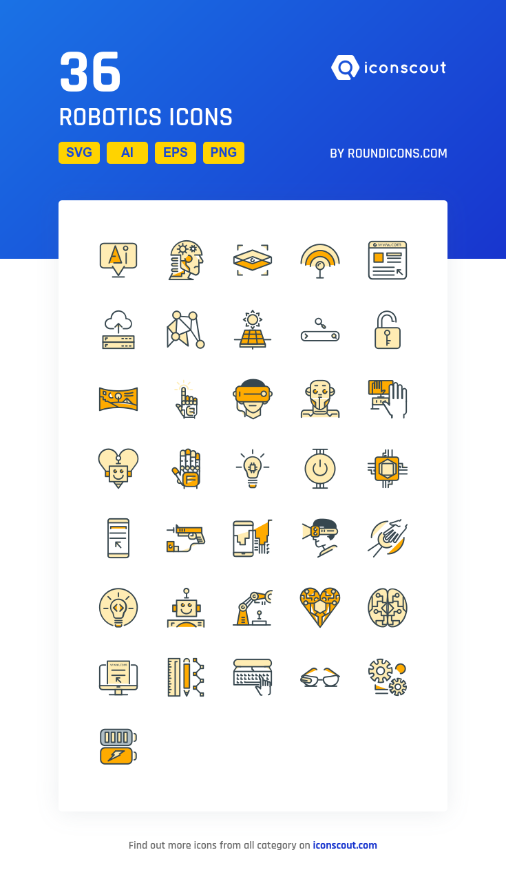 Robotics Icon Pack 36 Filled Outline Icons Icons Icon Pack