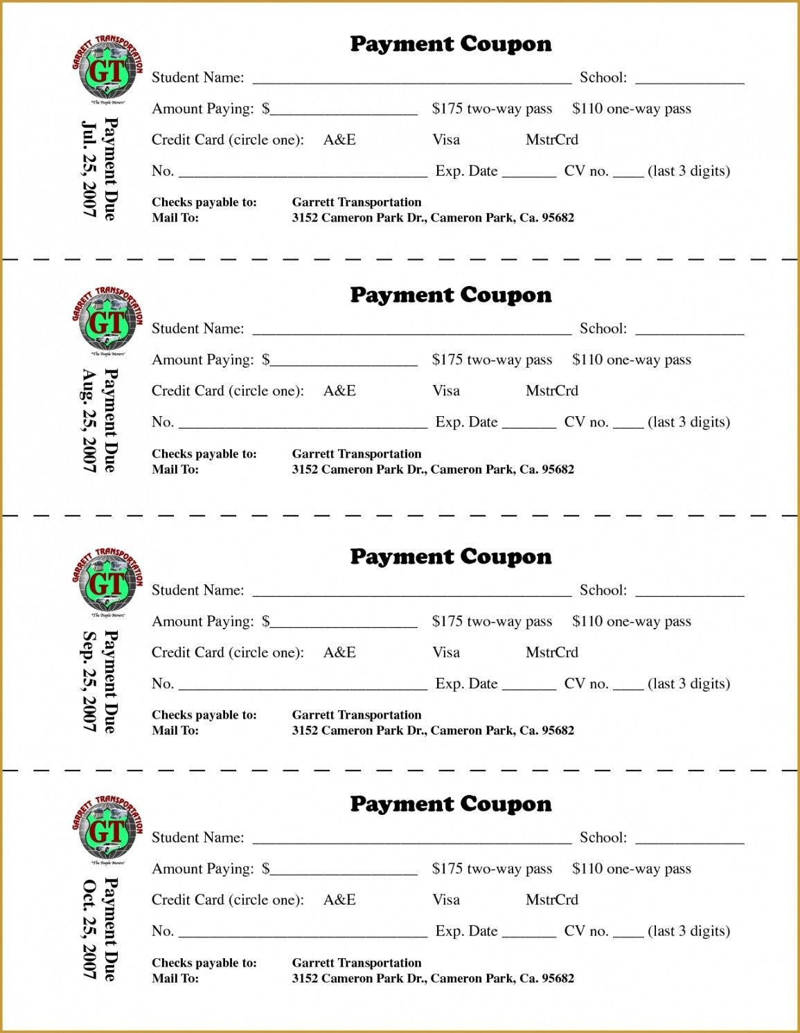 Loan Payment Coupon Book Template For Coupon Book Template Word In