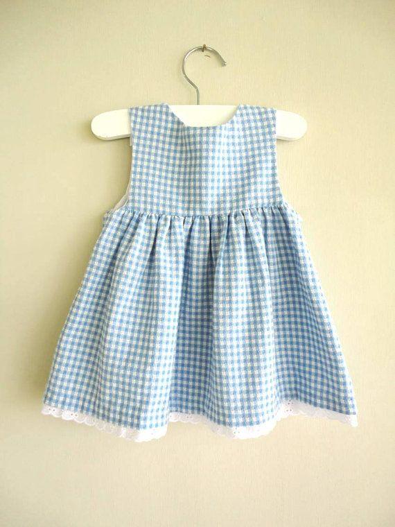 vestido de la vendimia: vestido de flor rosa moña azul 6-9mo ...