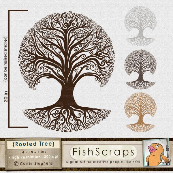 Rooted Tree Clip Art Family Tree Silhouette Whimsical Tree Etsy Family Tree Clipart Family Tree Graphic Tree Graphic