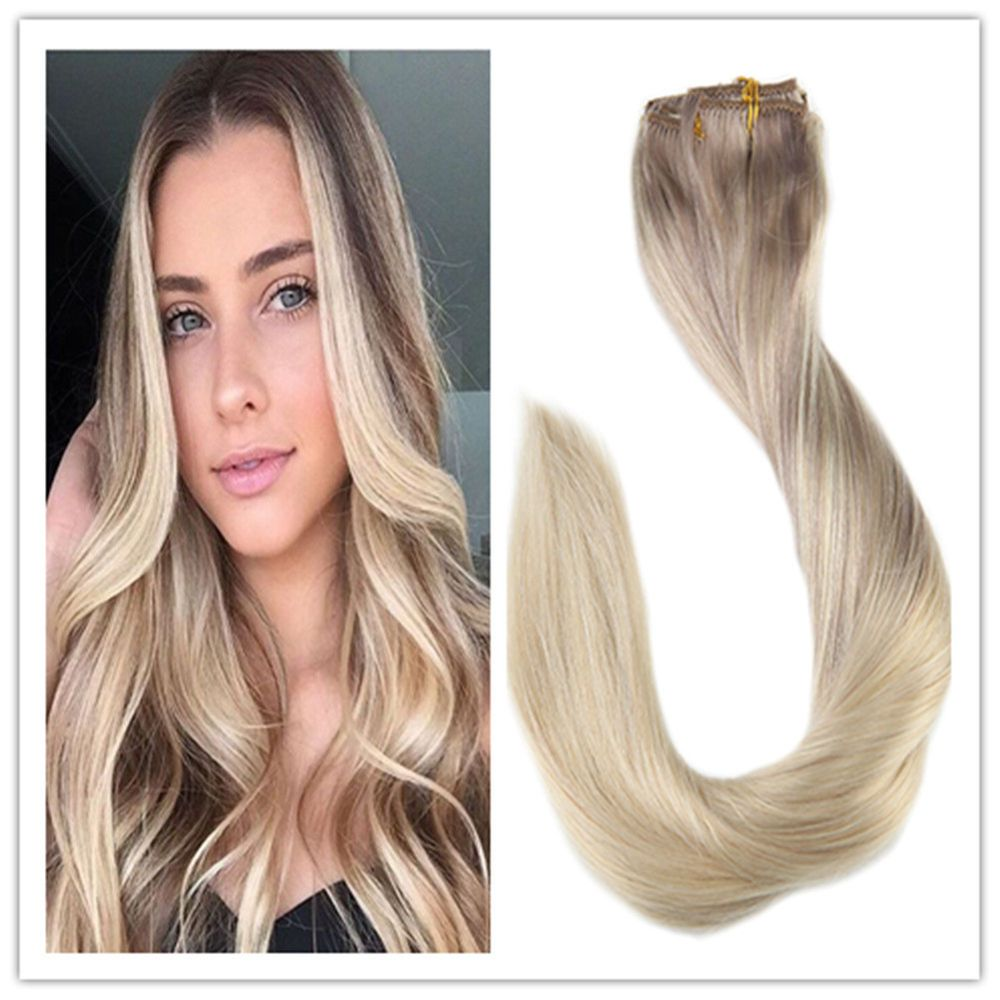 Clip In Full Head Human Hair Extensions Nordic Dip Dyed Clip In Hair