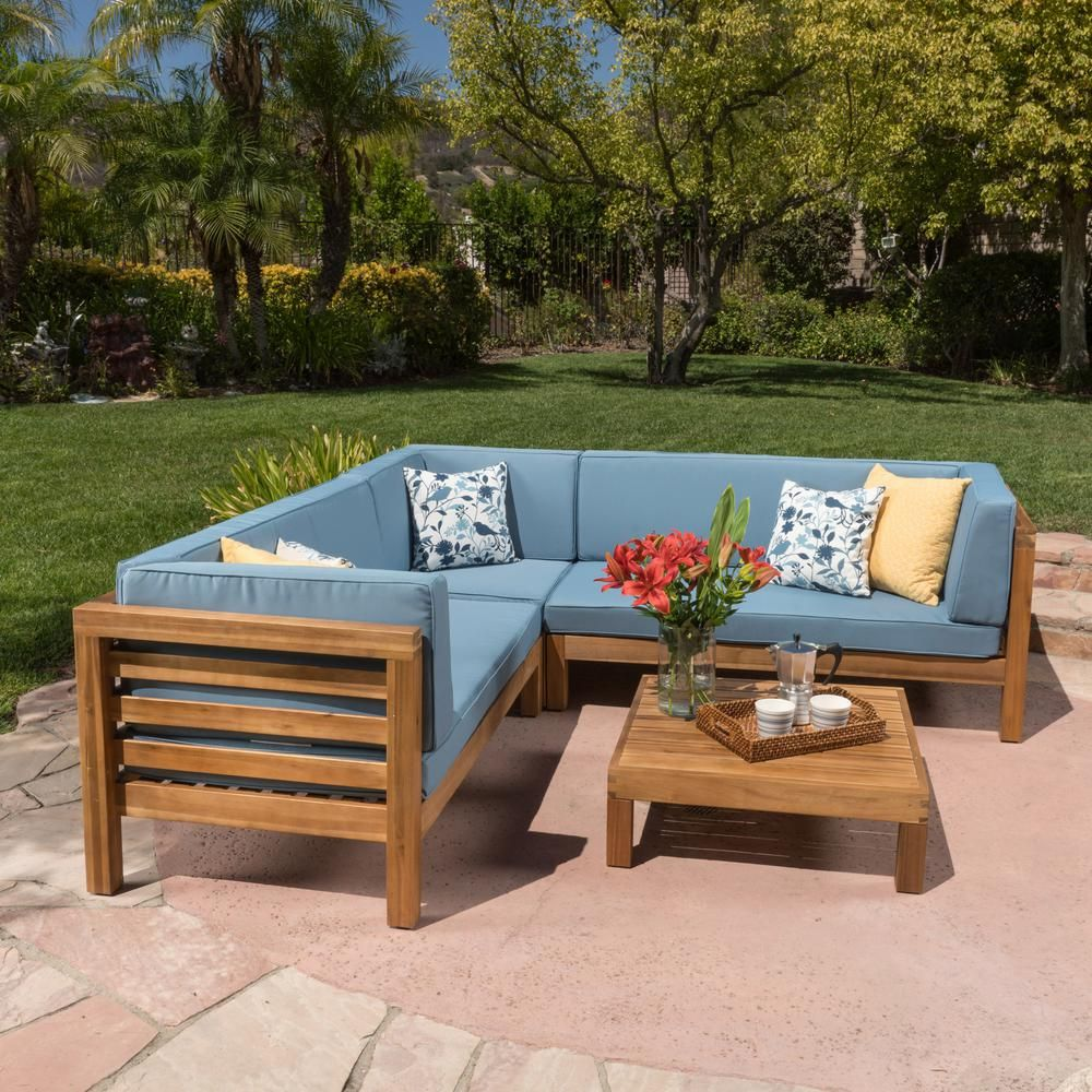 Noble House Oana Teak Finish 4 Piece Wood Outdoor Sectional Set With Blue Cushions Outdoor Patio Furniture Outdoor Sectional Sofa Used Outdoor Furniture