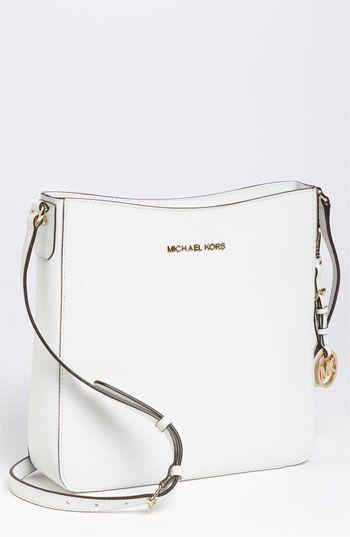 61e177218c25 $228, White Leather Crossbody Bag: Michl Michl Kors Jet Set Large Crossbody  Bag Optic