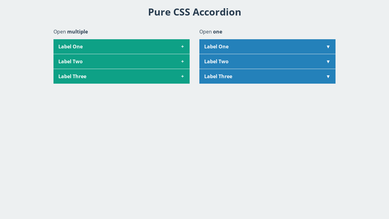 Acordeon made with just CSS  Based on checkbox input+label