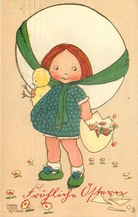girl in green chequered dress & large hat holds chick with her right hand, & large egg shell with flowers in it with her left hand in shell in egg-cup