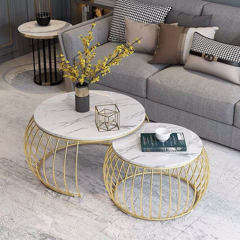 Modern Round Coffee Table Sets With Marble Top Metal Frame 2 Piece White In 2021 Faux Marble Coffee Table Coffee Table Table Decor Living Room [ 1000 x 1000 Pixel ]